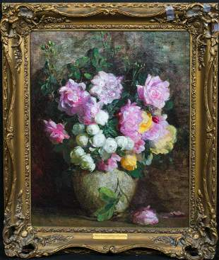 Still Life Of Pink Roses Oil Painting