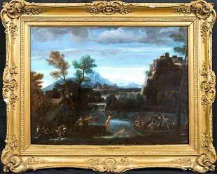 Bolognese School Bathers Landscape Oil Painting