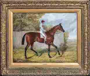 """Melton"" & Jockey Fred Oil Painting"
