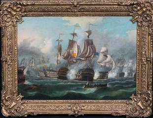 British Royal Navy The Battle Of Trafalgar 1805 Oil