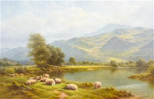 Landscape On The Lledr Sheep Oil Painting