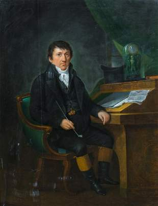 Portrait Of A Man Reading The Boston Herald Oil