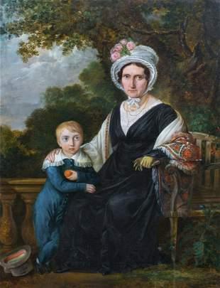 Boston Garden Portrait Of Lady & Boy Oil Painting