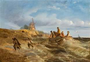 Fisherfolk Fishing Boat Oil Painting