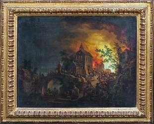 Burning Village Peasants Oil Painting