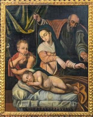 Holy Family & Infant St John Oil Painting