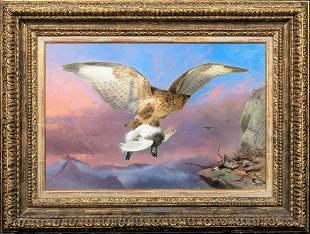 Buzzard & Ptarmigan Bird Study Oil Painting