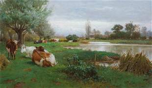 Cattle Resting River Meadow Landscape Oil Painting