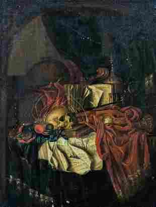 Vanitas Skull Book Still Life Oil Painting