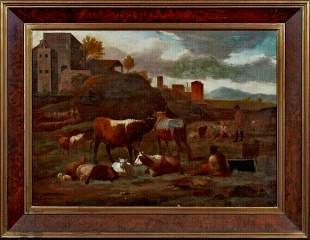 Cattle Sheep Cows Landscape Oil Painting