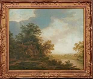 Woodland Fishing Landscape Oil Painting