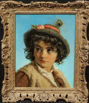 Swiss Boy Portrait Oil Painting