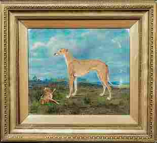 "Greyhound ""Wartnaby Task"" & Hare Coursing Portrait Oil"
