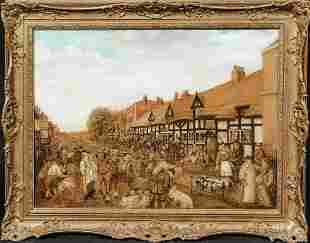 Farmers Market Shropshire Street Market Oil Painting