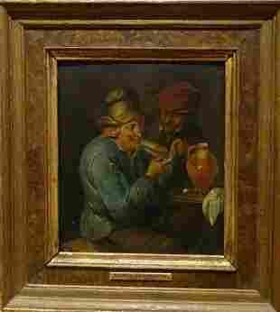 Peasants Smoking Tavern Oil Painting