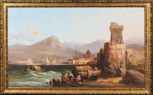 Coastal Fishing Landscape Oil Painting
