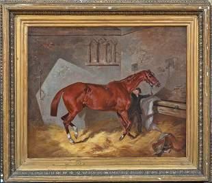 Chestnut Hunter Horse & Stable Boy Oil Painting