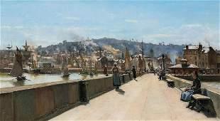 Port Cherbourg Bridge Landscape Oil Painting