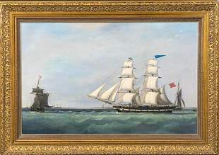British Royal Navy Frigate Oil Painting