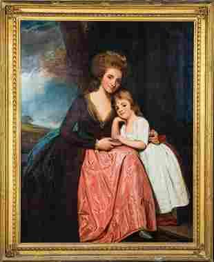 Mother Mrs Bradebridge & Daughter Portrait Oil Painting