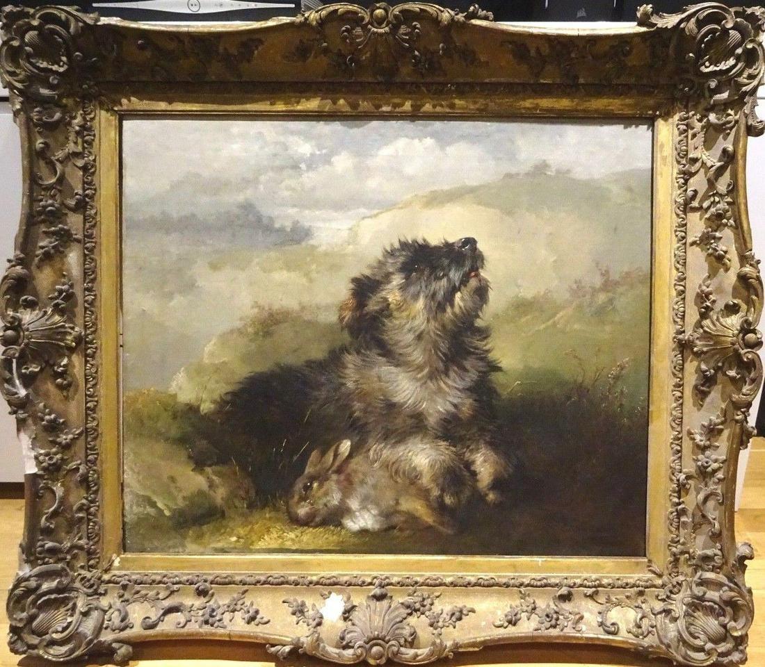Dog Portrait & Dead Rabbit Oil Painting
