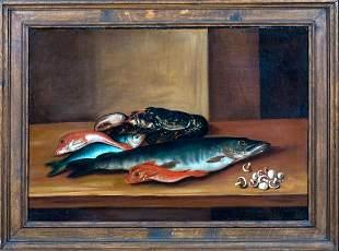Still Life Lobster Fish & Mushrooms Oil Painting
