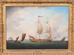 British Royal Navy Ships Sailing Off The Coast Oil