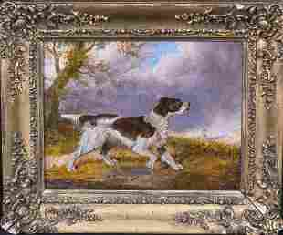 Dog Portrait Irish Red & White Setter Oil Painting