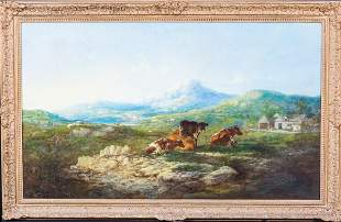 Cattle Resting Snowdonia Landscape Oil Painting