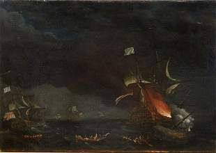 British Royal Navy Prince George Bay Of Biscay 1758 Oil