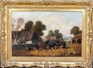 Farm Horses Pigs Chickens Oil Painting