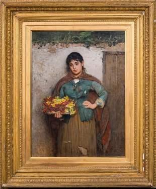 Flower Girl Portrait Oil Painting