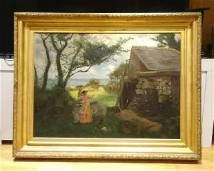 Mother & Child Landscape Oil Painting