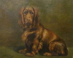 Brown Cocker Spaniel Dog Portrait Oil Painting