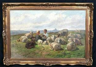 Boys Playing Cards Among The Sheep Oil Painting