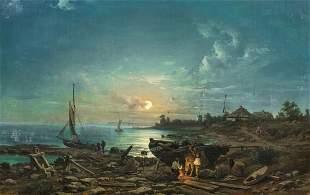 Moonlit Coastal Beach Dresden Landscape Oil Painting