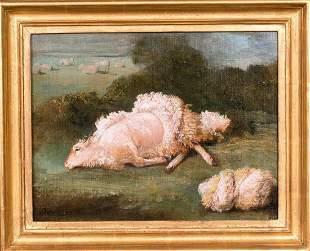 Sheep Shorn Fleece Landscape Oil Painting