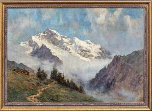 Swiss Alps Mountain Landscape Oil Painting