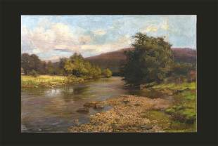 Country River Landscape Oil Painting