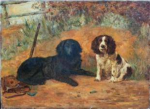 Portrait Of Cocker Springer Spaniel Dogs Oil Painting