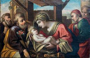 The Holy Family & Attendants Oil Painting