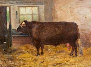 Shorthorn Prize Bull Portrait Oil Painting
