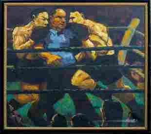 """Heavyweight Boxing Match Fight """"Break"""" Oil Painting"""