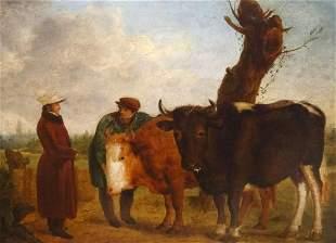 Prize Bulls Farmer & Owner Landscape Oil Painting