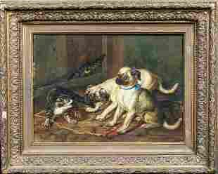 Pug Puppies & Tabby Cat Barn Scene Oil Painting