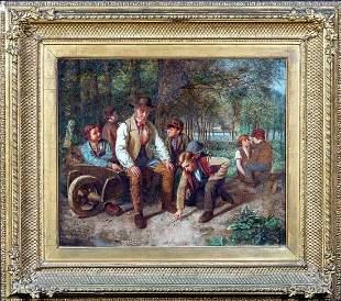 Gardener & Children Oil Painting
