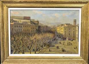 Street Scene Of Barcelona City Landscape 1942 Oil