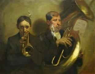 Trumpet & Tuba Horn Oil Painting
