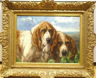 Portrait Of Two Bloodhound Dogs Oil Painting