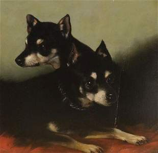 Manchester Terriers Dog Portrait Oil Painting